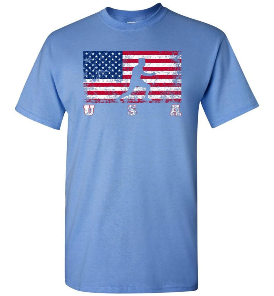 American Flag Fencing - Short Sleeve T-Shirt - Carolina Blue / S