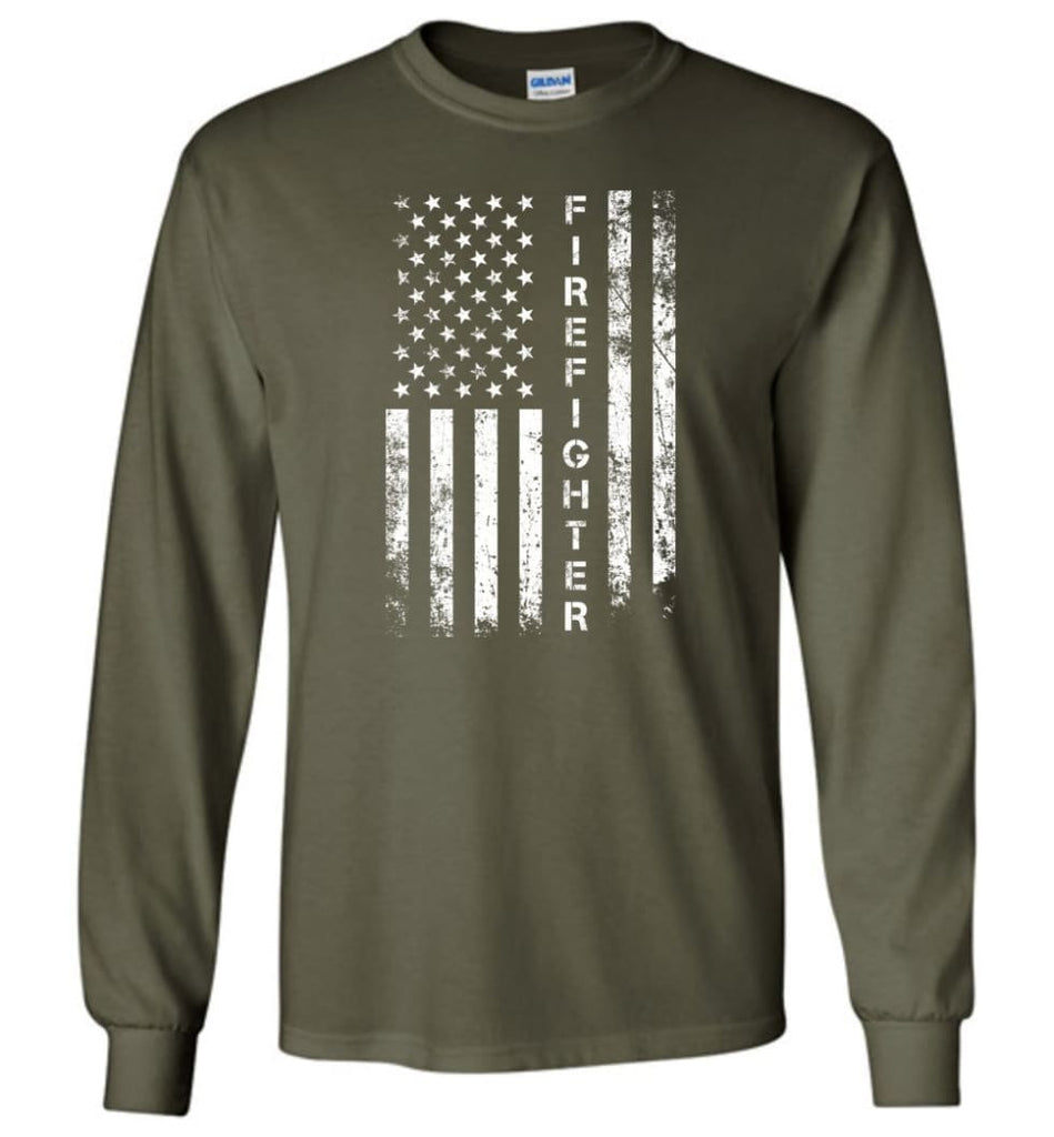 American Flag Firefighter - Long Sleeve T-Shirt - Military Green / M
