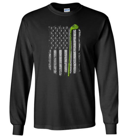American Flag Golf Shirt American Flag Golf Apparel Funny Golf Shirts For Men Long Sleeve T-Shirt - Black / M