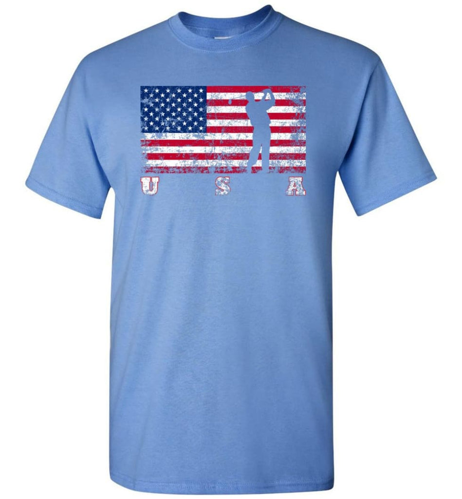 American Flag Golf T-Shirt - Carolina Blue / S