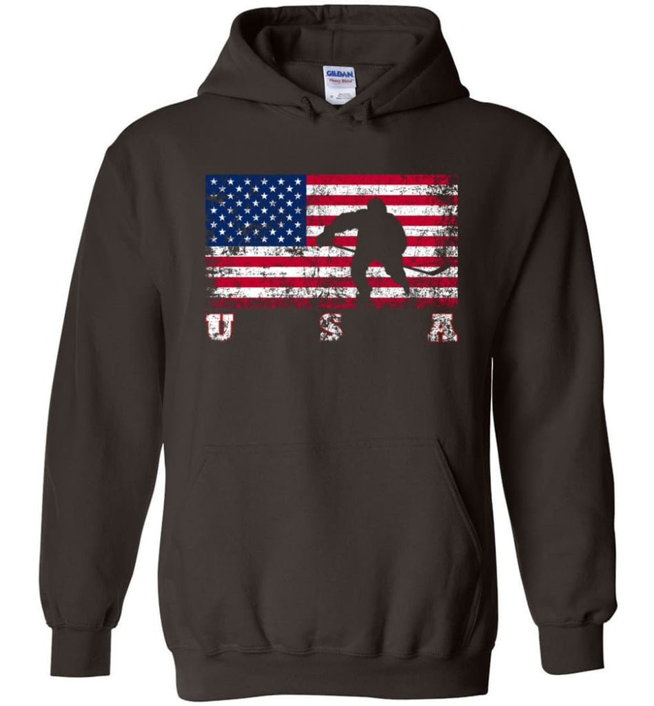 American Flag Hockey - Hoodie - Dark Chocolate / M