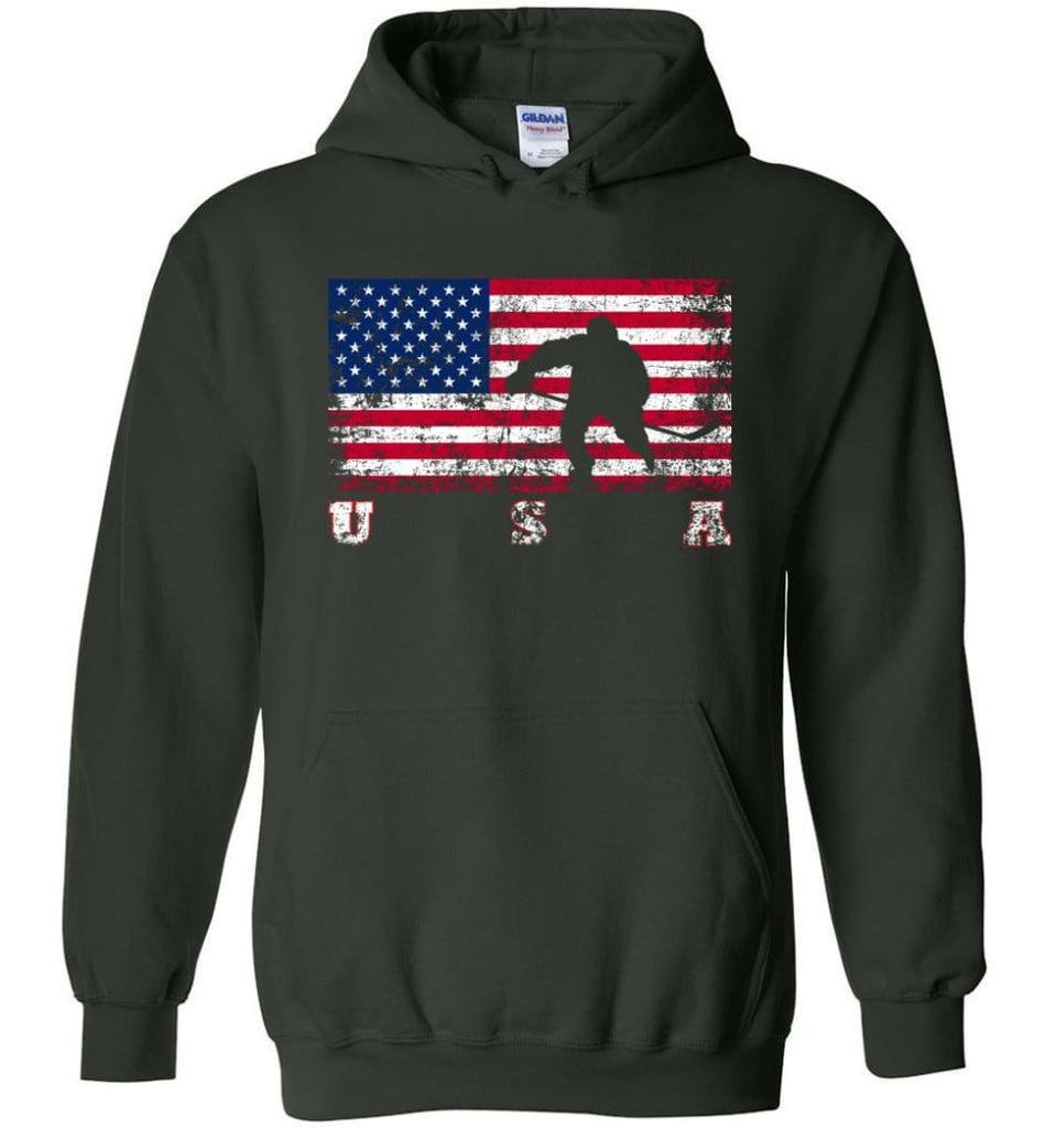 American Flag Hockey - Hoodie - Forest Green / M