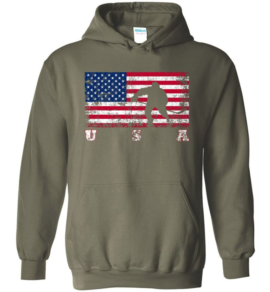 American Flag Hockey - Hoodie - Military Green / M