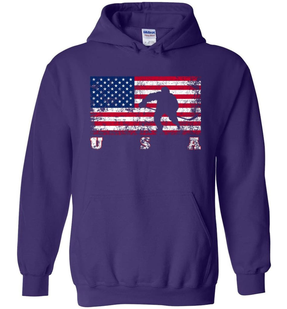 American Flag Hockey - Hoodie - Purple / M