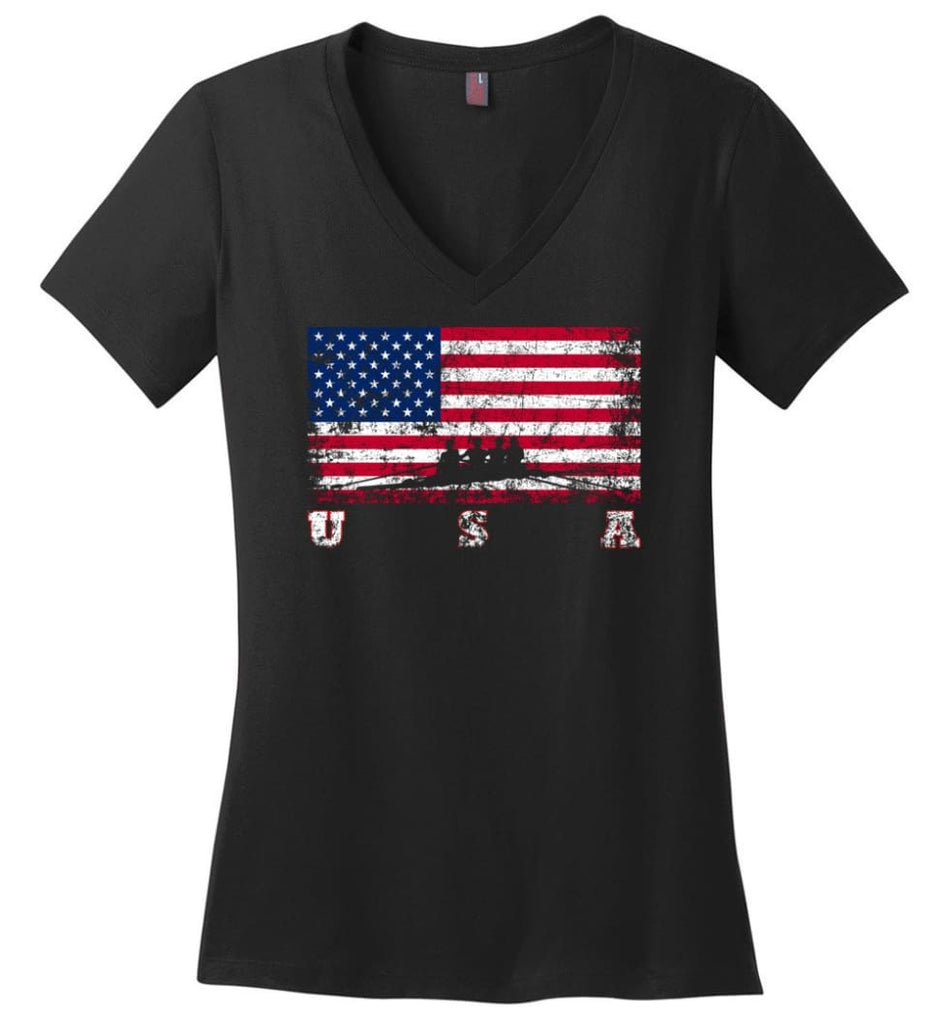 American Flag Hockey Ladies V-Neck - Black / M