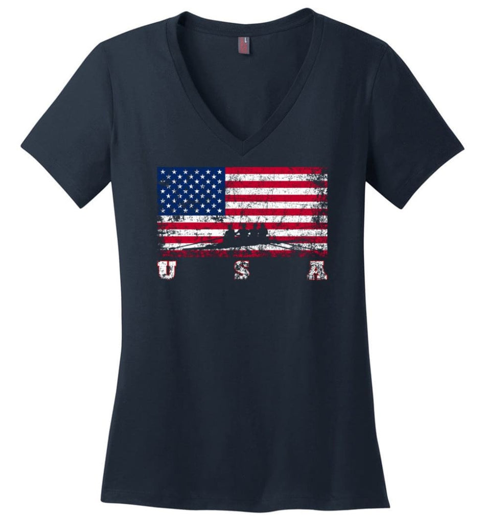 American Flag Hockey Ladies V-Neck - Navy / M