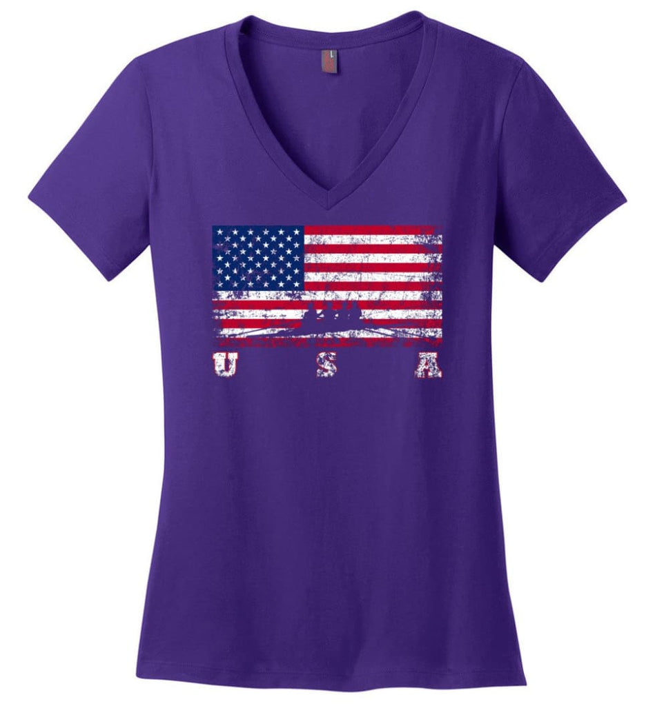 American Flag Hockey Ladies V-Neck - Purple / M