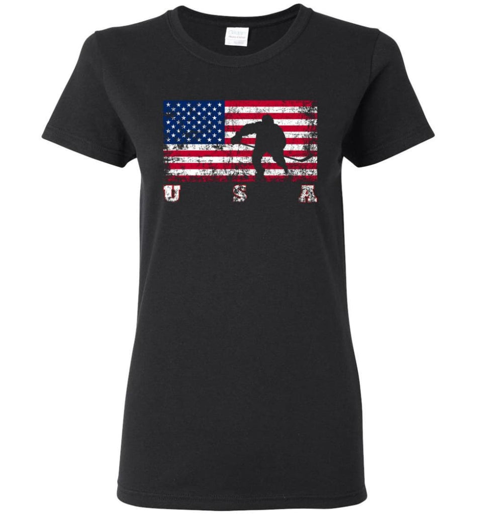 American Flag Hockey Women Tee - Black / M