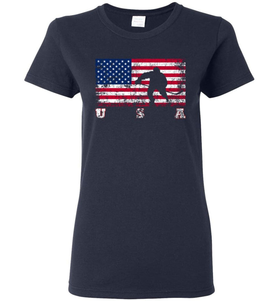 American Flag Hockey Women Tee - Navy / M