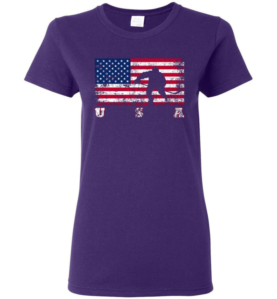American Flag Hockey Women Tee - Purple / M