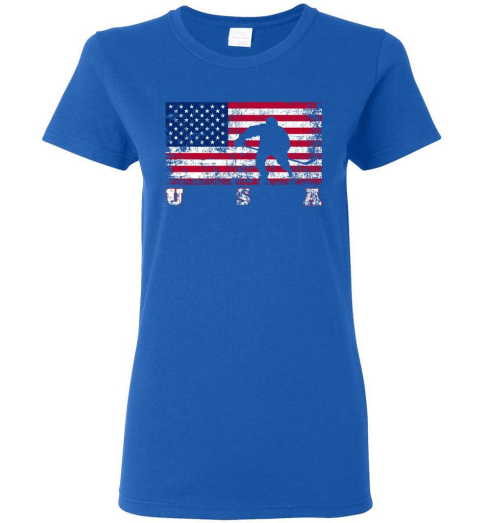 American Flag Hockey Women Tee - Royal / M