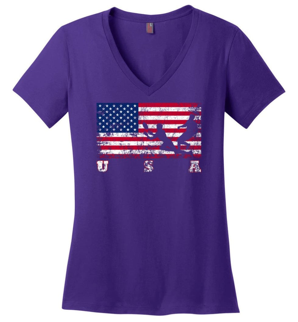 American Flag Judo Ladies V-Neck - Purple / M