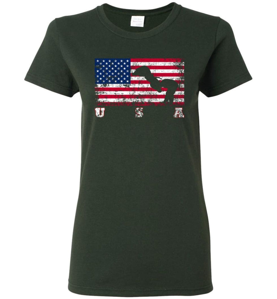 American Flag Judo Women Tee - Forest Green / M