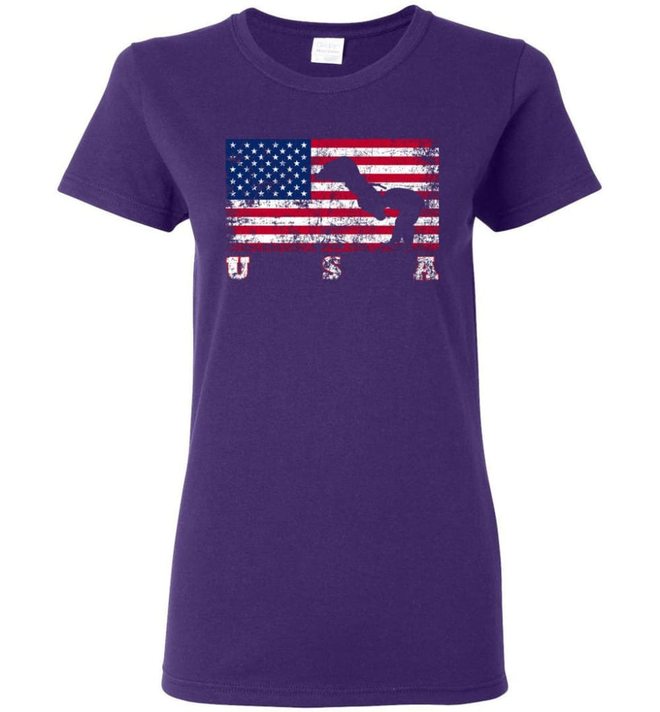 American Flag Judo Women Tee - Purple / M