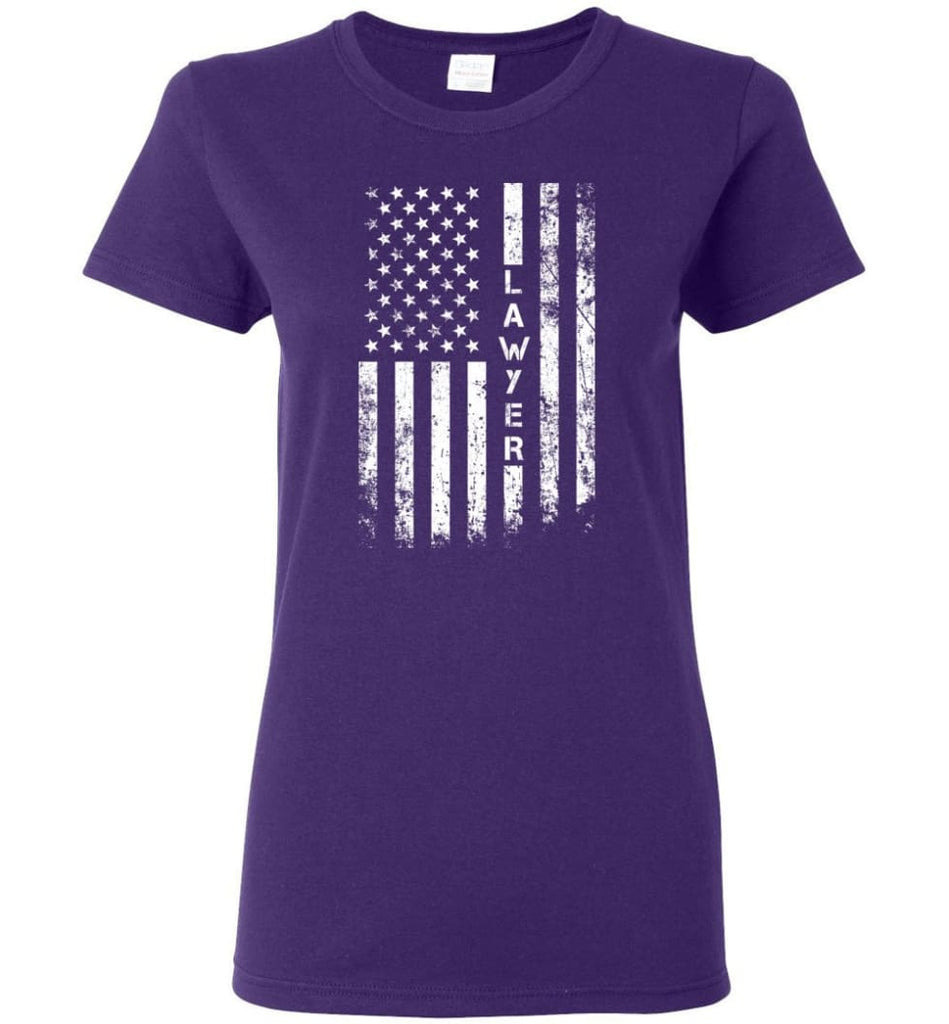 American Flag Lawyer Women Tee - Purple / M