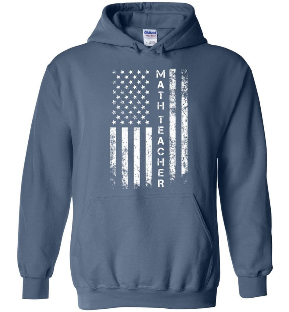 American Flag Math Teacher - Hoodie - Indigo Blue / M