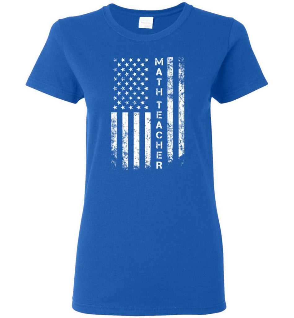 American Flag Math Teacher Women Tee - Royal / M