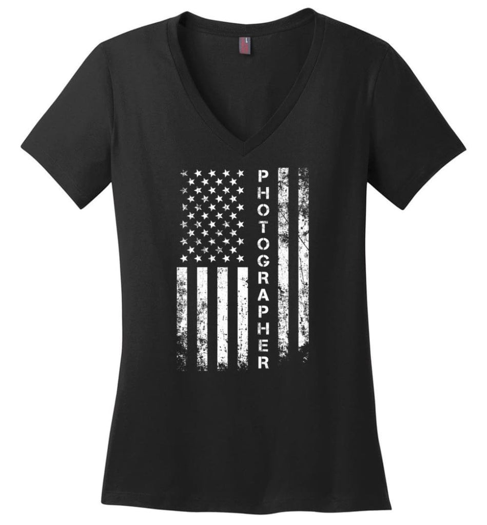 American Flag Mechanic Ladies V-Neck - Black / M