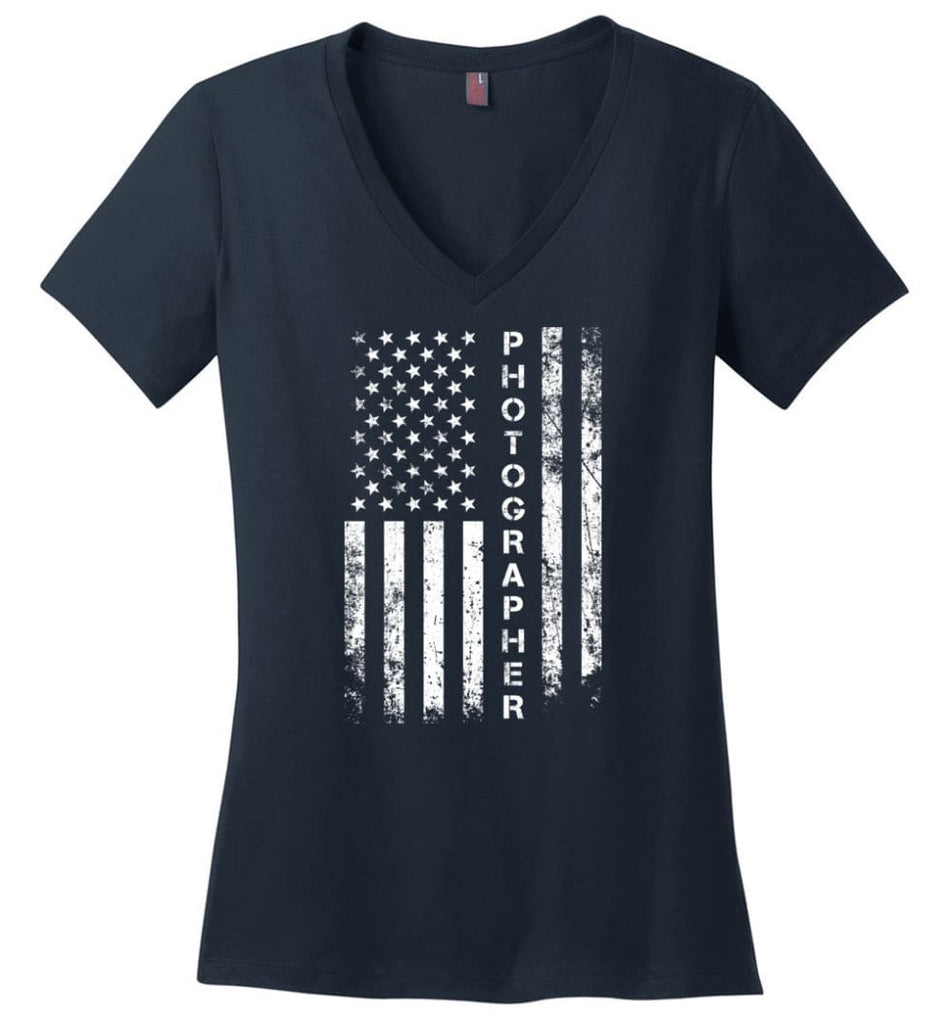 American Flag Mechanic Ladies V-Neck - Navy / M