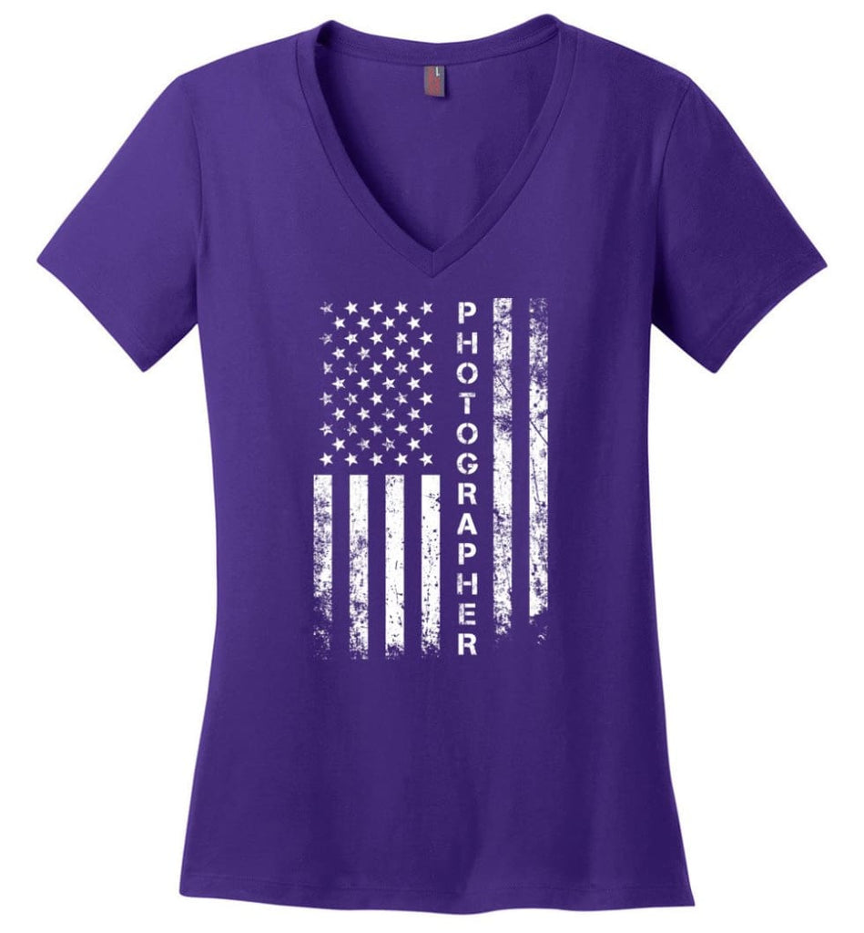 American Flag Mechanic Ladies V-Neck - Purple / M