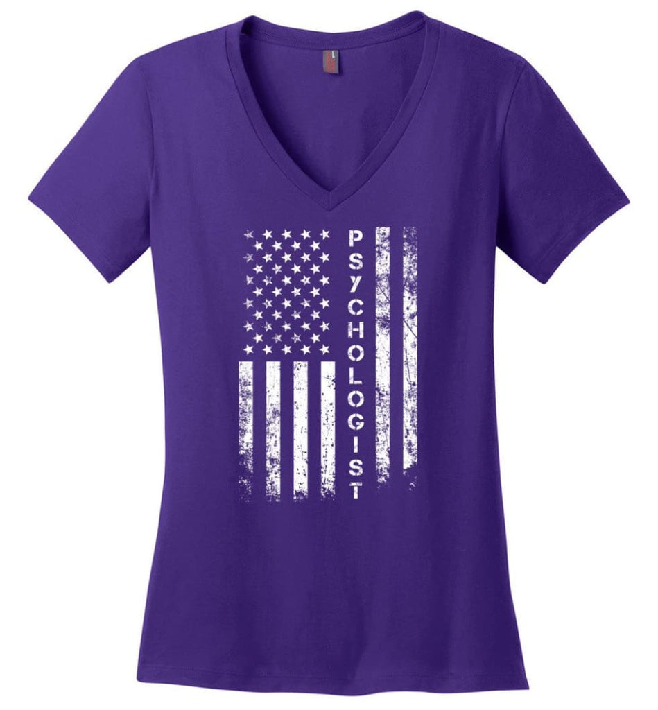 American Flag Music Director Ladies V-Neck - Purple / M