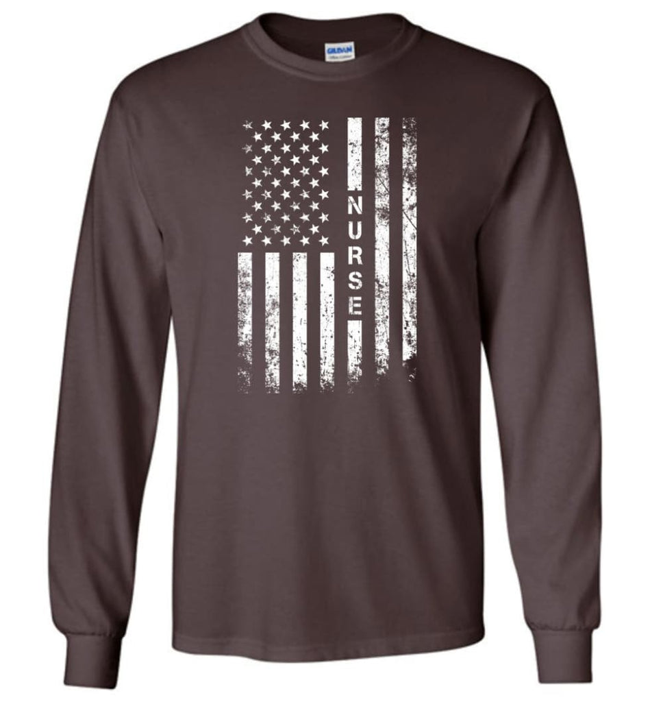 American Flag Nurse - Long Sleeve T-Shirt - Dark Chocolate / M