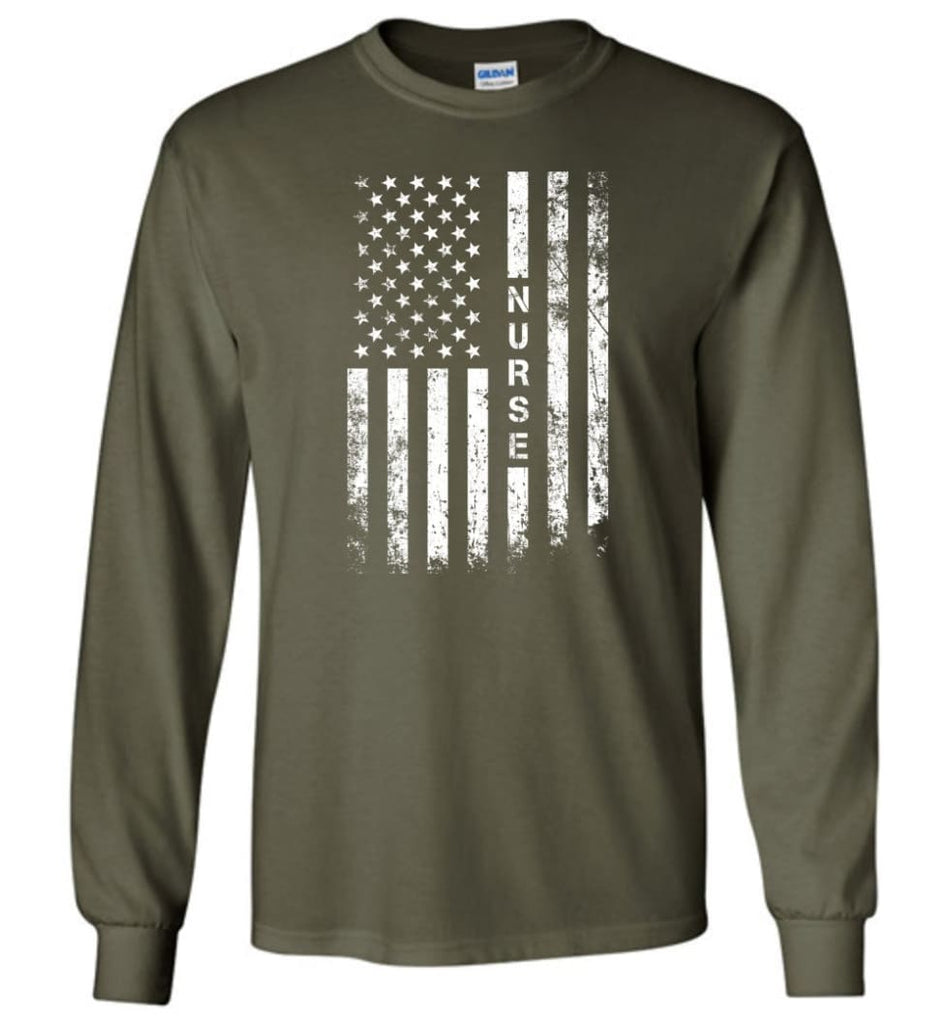 American Flag Nurse - Long Sleeve T-Shirt - Military Green / M