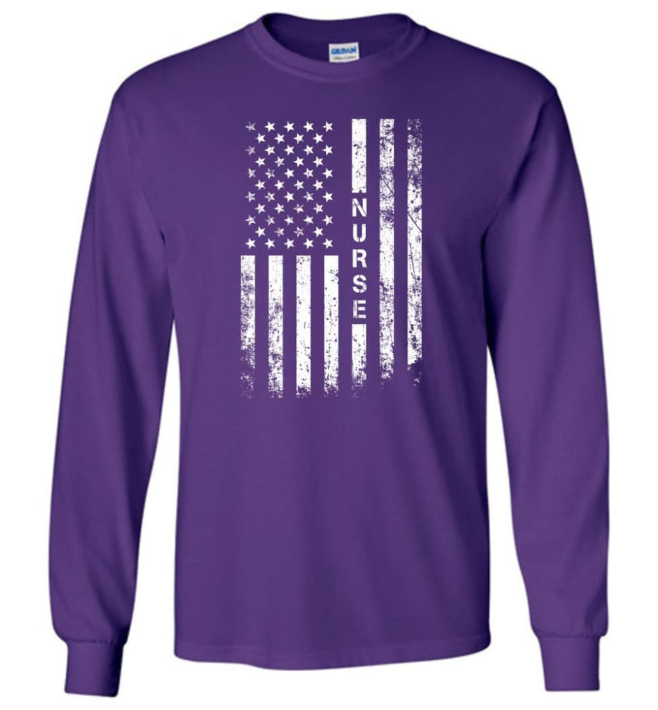 American Flag Nurse - Long Sleeve T-Shirt - Purple / M
