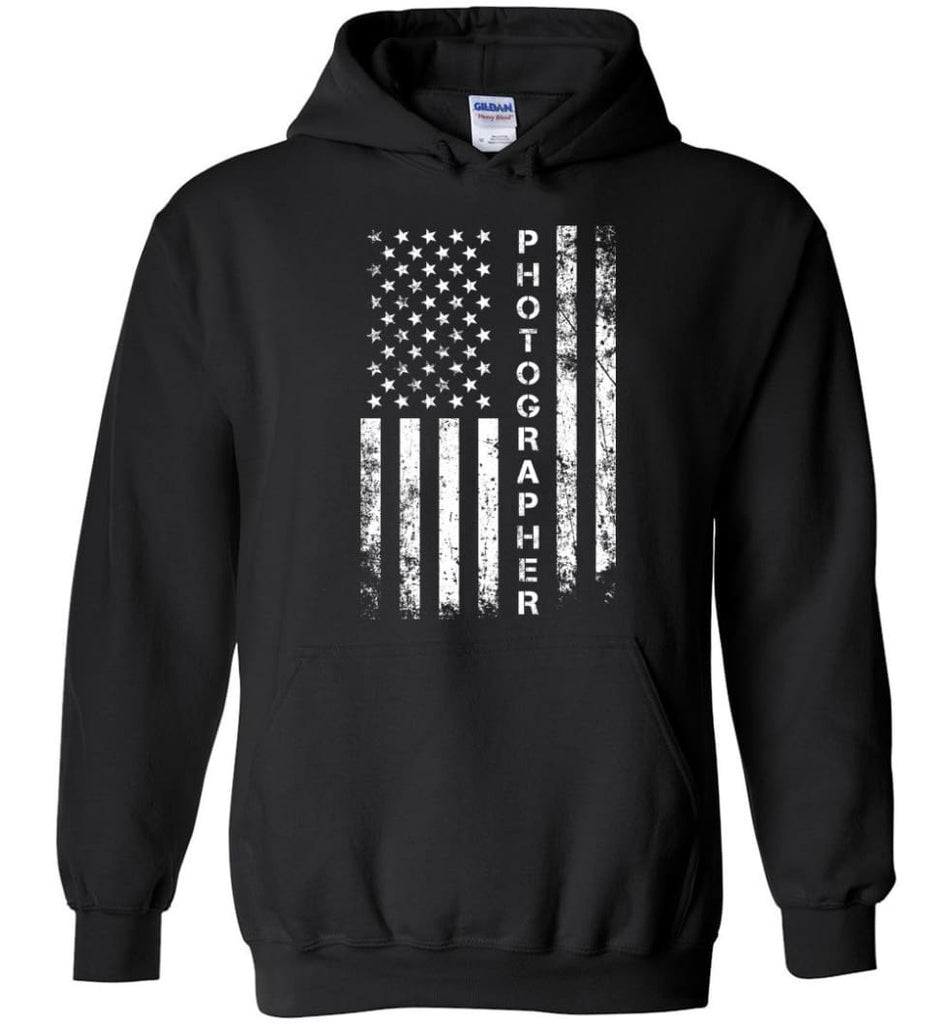 American Flag Photographer Hoodie - Black / M