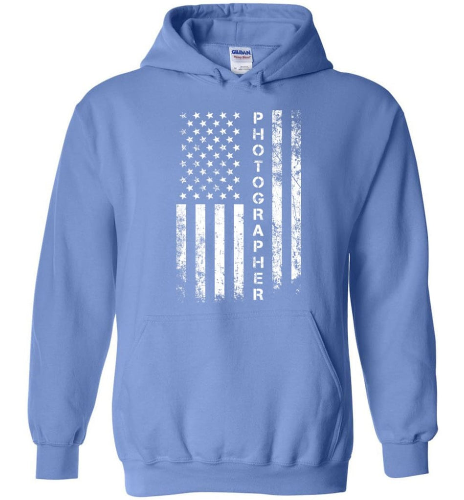 American Flag Photographer Hoodie - Carolina Blue / M