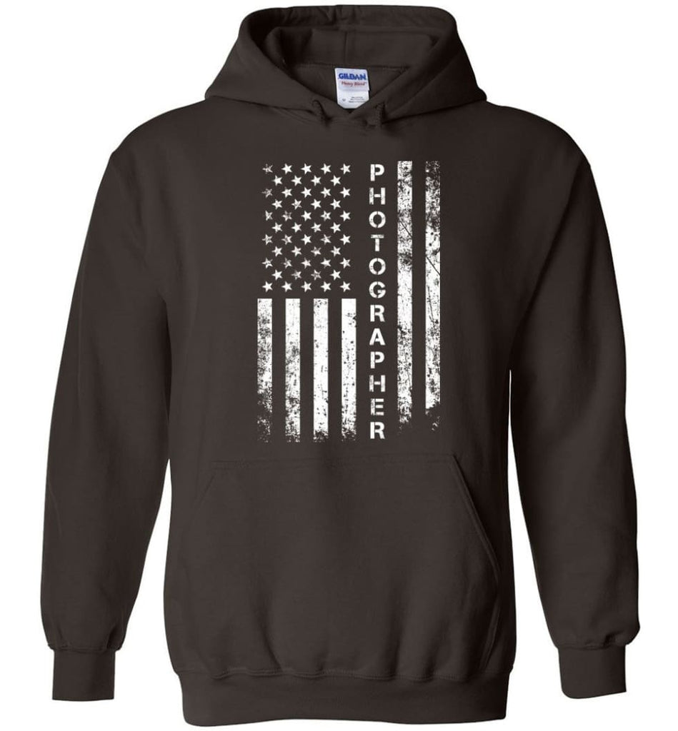American Flag Photographer Hoodie - Dark Chocolate / M