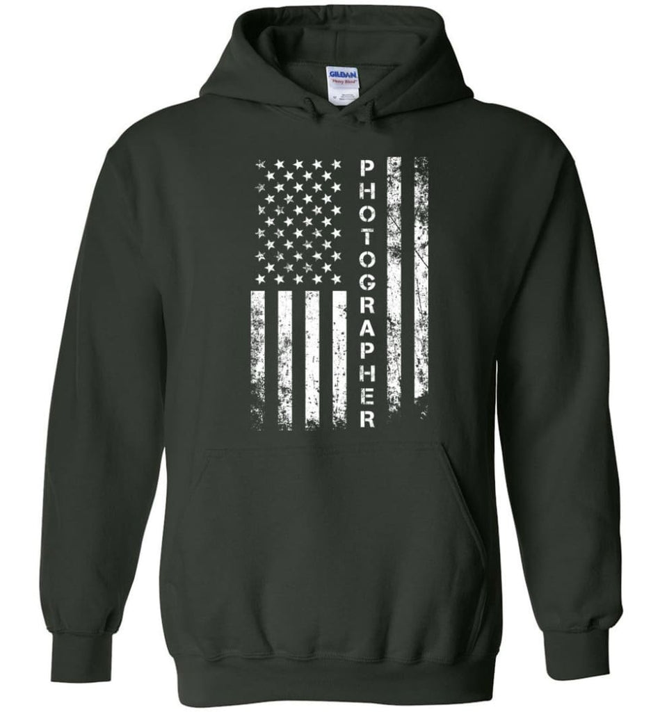 American Flag Photographer Hoodie - Forest Green / M