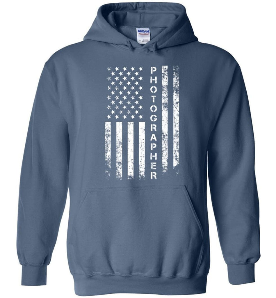 American Flag Photographer Hoodie - Indigo Blue / M