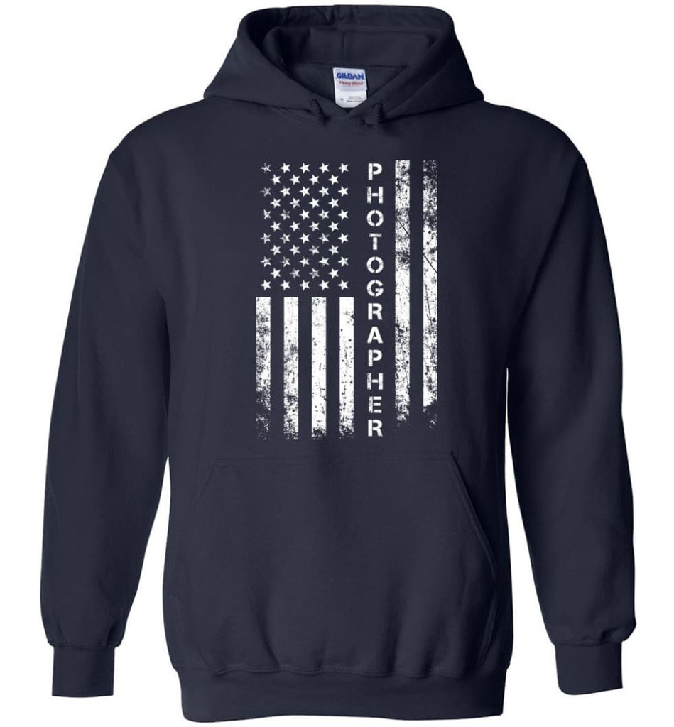American Flag Photographer Hoodie - Navy / M