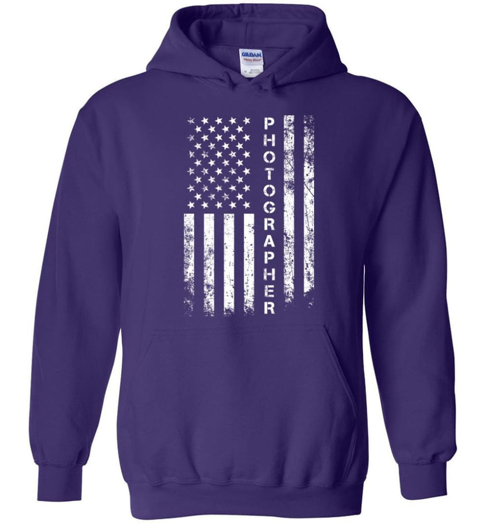 American Flag Photographer Hoodie - Purple / M