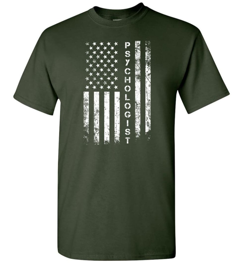 American Flag Psychologist - Short Sleeve T-Shirt - Forest Green / S