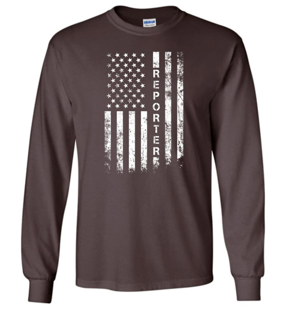 American Flag Reporter - Long Sleeve T-Shirt - Dark Chocolate / M