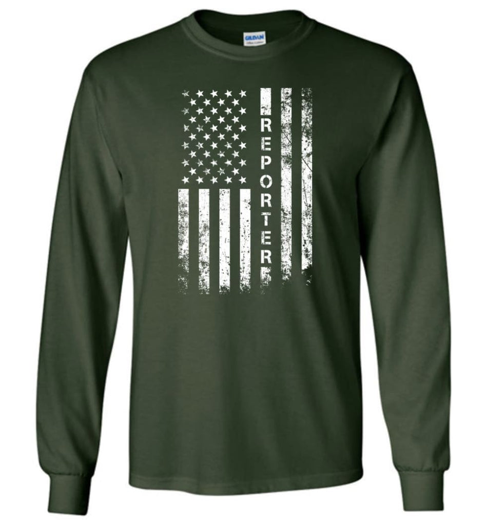 American Flag Reporter - Long Sleeve T-Shirt - Forest Green / M