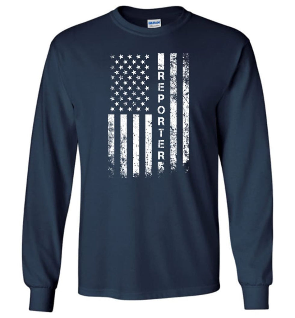 American Flag Reporter - Long Sleeve T-Shirt - Navy / M