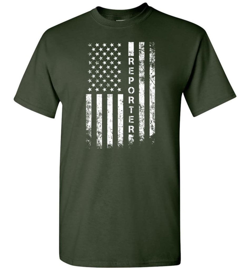 American Flag Reporter - Short Sleeve T-Shirt - Forest Green / S