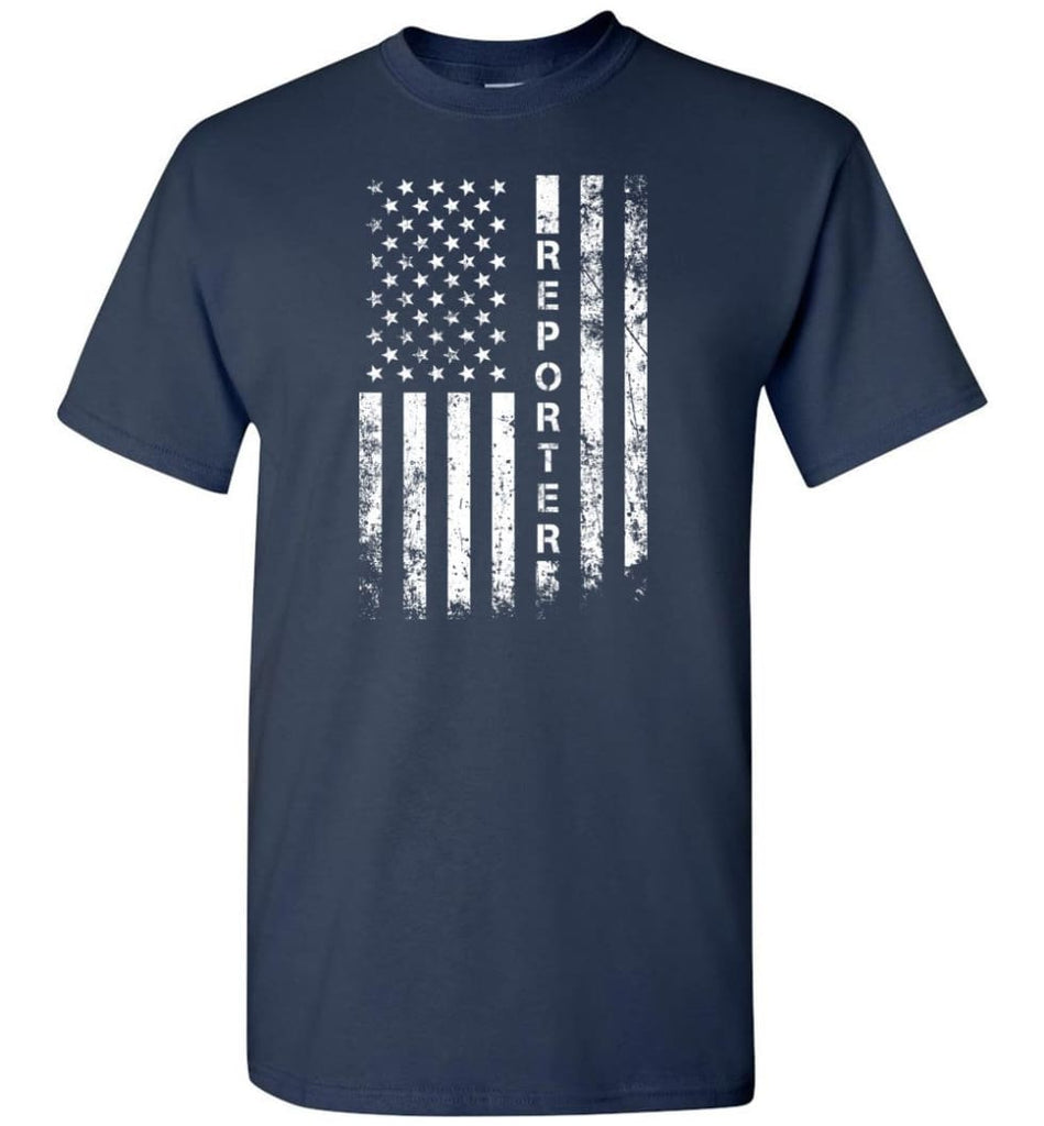 American Flag Reporter - Short Sleeve T-Shirt - Navy / S