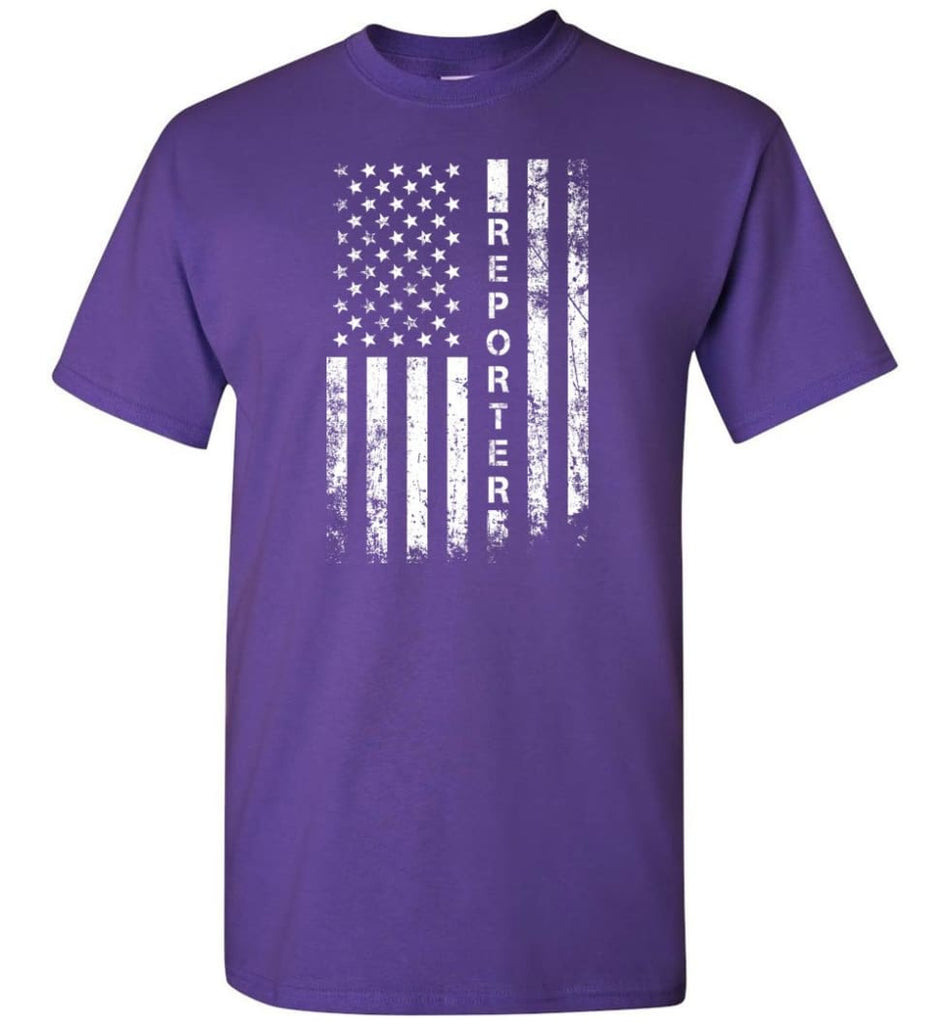 American Flag Reporter - Short Sleeve T-Shirt - Purple / S