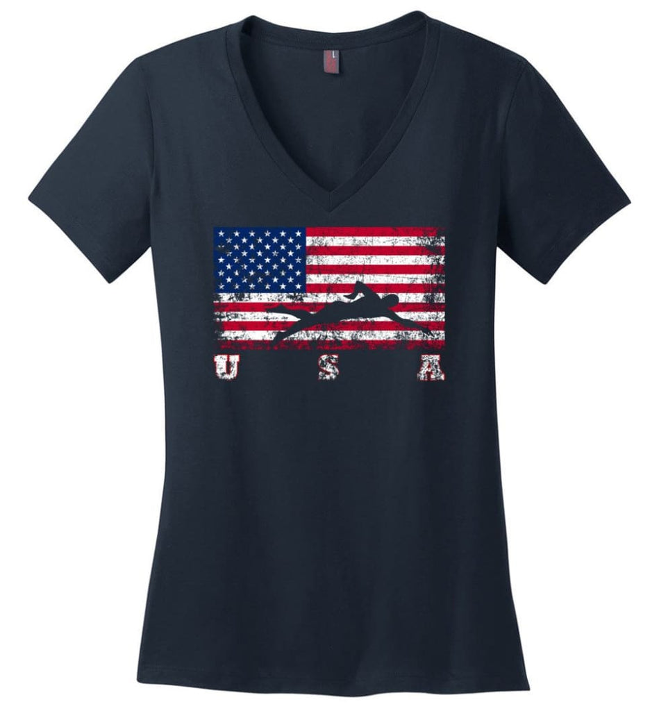 American Flag Rhythmic Gymnastics Ladies V-Neck - Navy / M