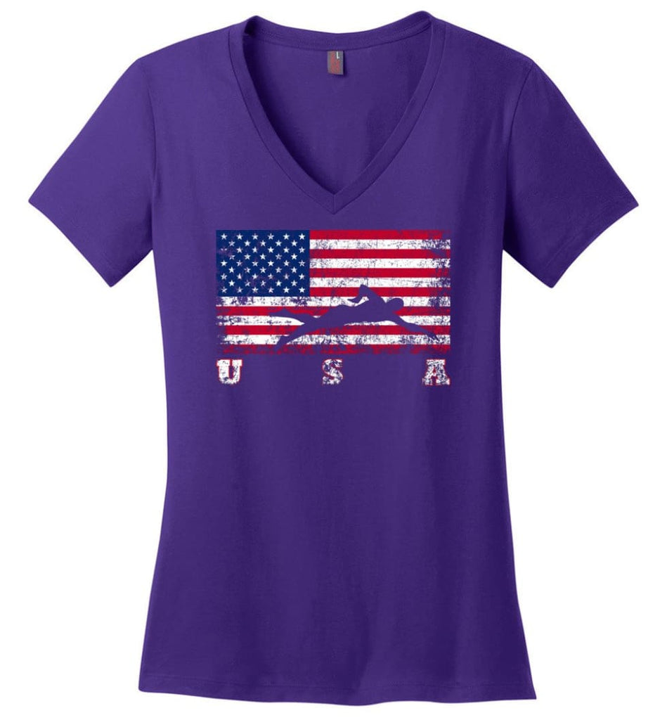 American Flag Rhythmic Gymnastics Ladies V-Neck - Purple / M