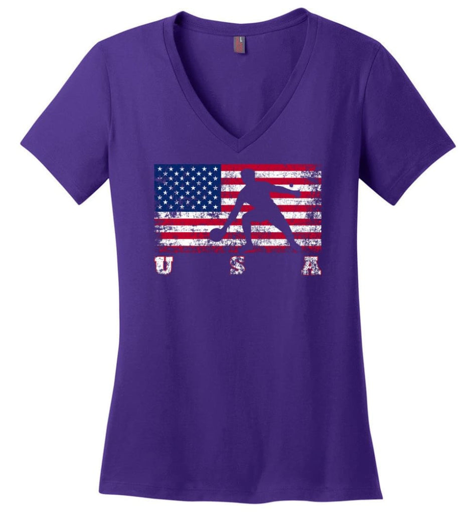 American Flag Rowing Ladies V-Neck - Purple / M