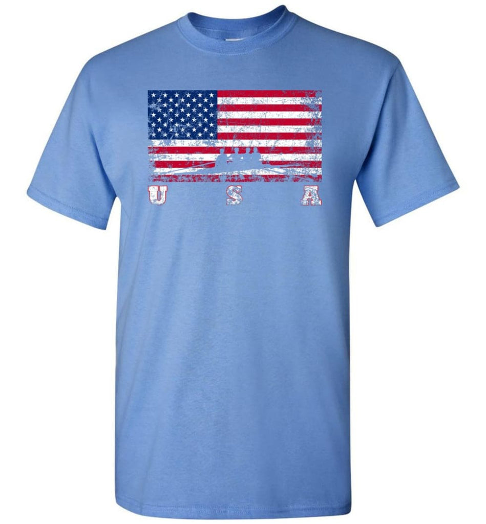 American Flag Rowing - Short Sleeve T-Shirt - Carolina Blue / S