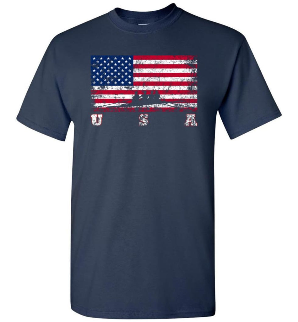 American Flag Rowing - Short Sleeve T-Shirt - Navy / S