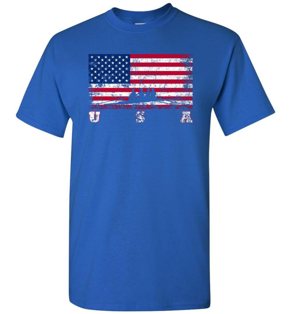 American Flag Rowing - Short Sleeve T-Shirt - Royal / S
