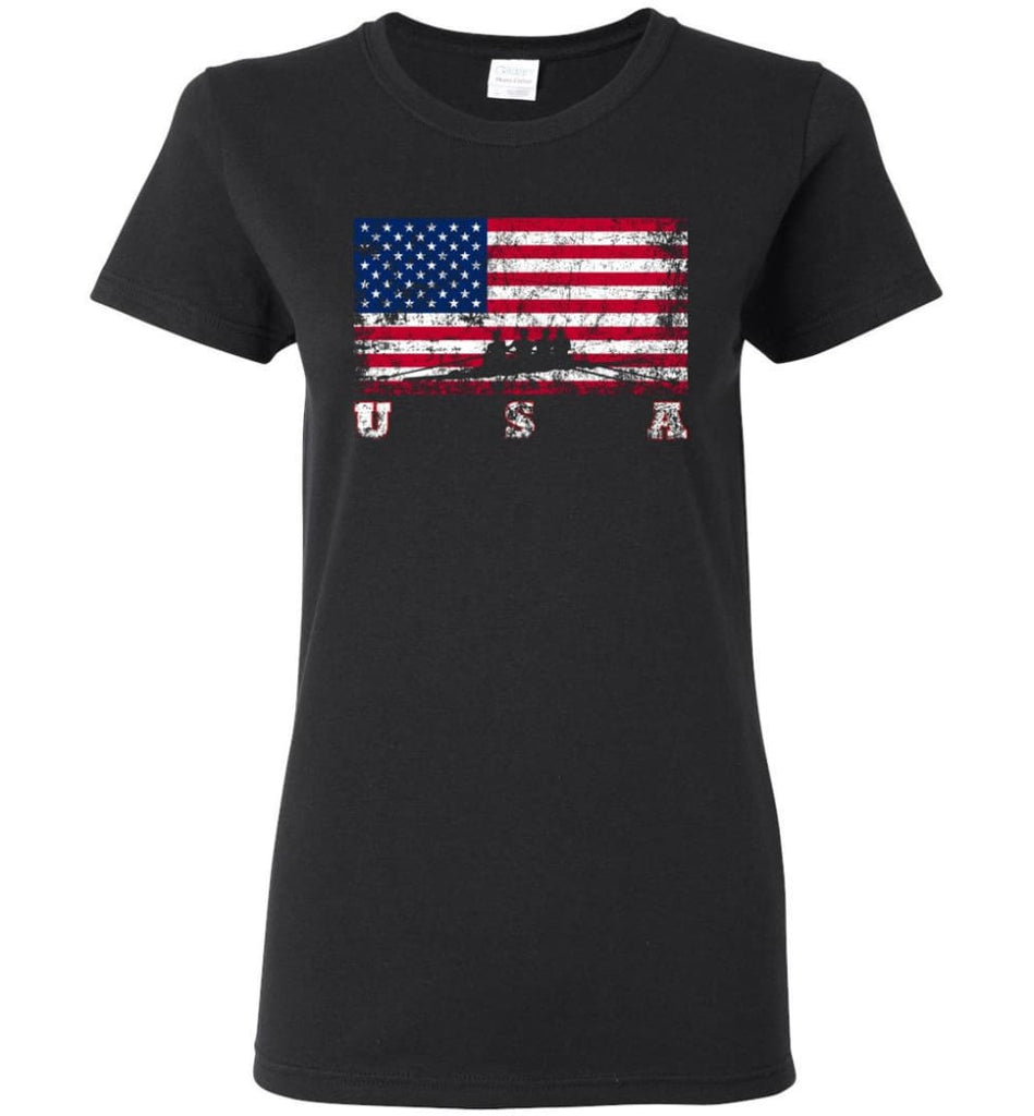 American Flag Rowing Women Tee - Black / M