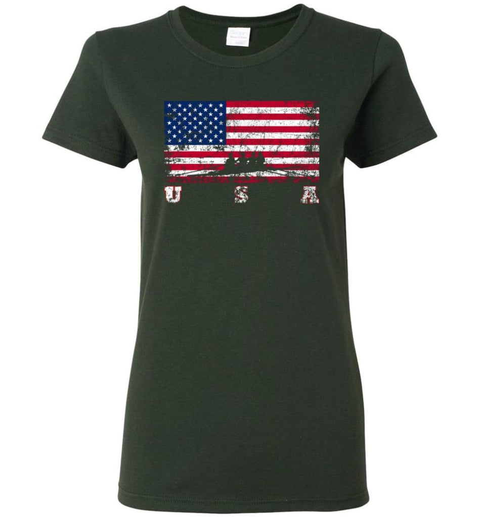 American Flag Rowing Women Tee - Forest Green / M
